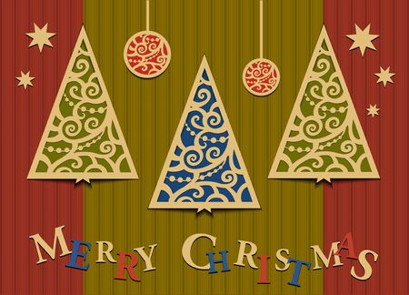 Three Christmas trees applique Illustration