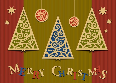 Postcard with an applique from Christmas trees