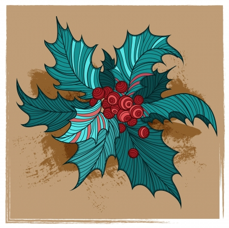 Color Christmas holly Vector
