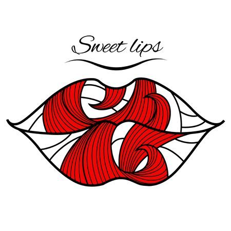 Lips with a red petal Illustration