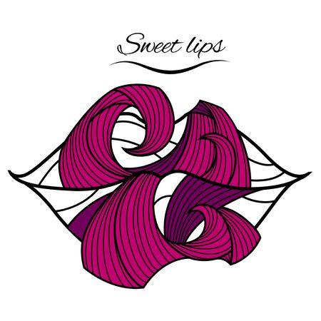 Pink lips Stock Vector - 17407409