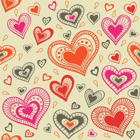 pattern with hearts_5 Ilustrace