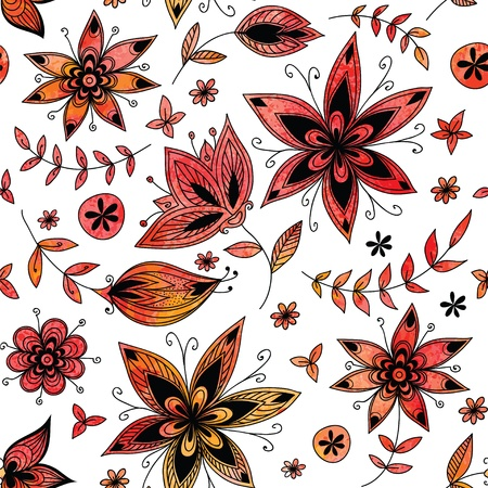 Red floral seamless pattern Stock Vector - 17804394