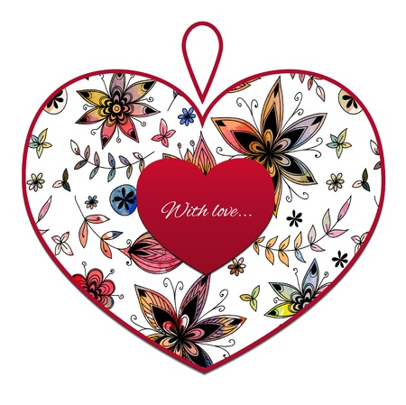 Heart with flower pattern Stock Vector - 17804404