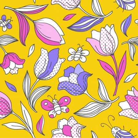 Summer pattern with tulips  일러스트