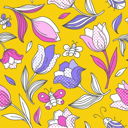 Summer pattern with tulips  Vector