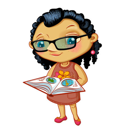 Character fashionable small girl with book on a white background Vector