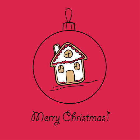 Christmas ball with ingerbread house. Vector illustration. You can use it  for design of greeting card.