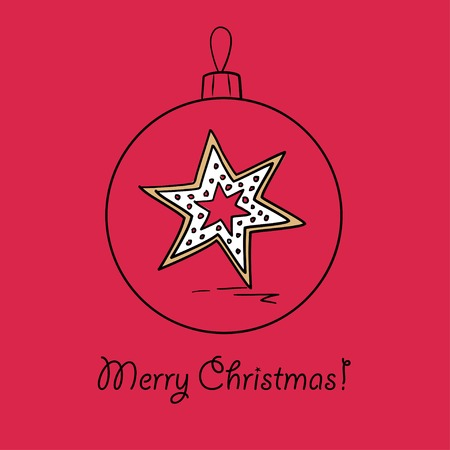 december holidays: Christmas ball with gingerbread star. Vector illustration. You can use it  for design of greeting card. Illustration