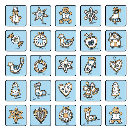 Set of Christmas icons of dingerbreads. Vector illustration for your website or packaging design and fabric Vector