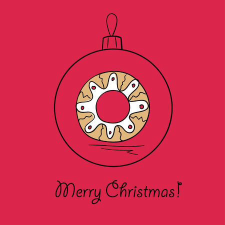 the season: Christmas ball with Christmas wreath. Vector illustration. You can use it  for design of greeting card.