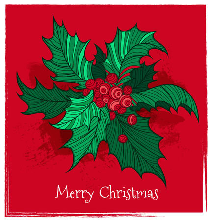 Postcard with color Christmas holly. Vector illustration. Vector