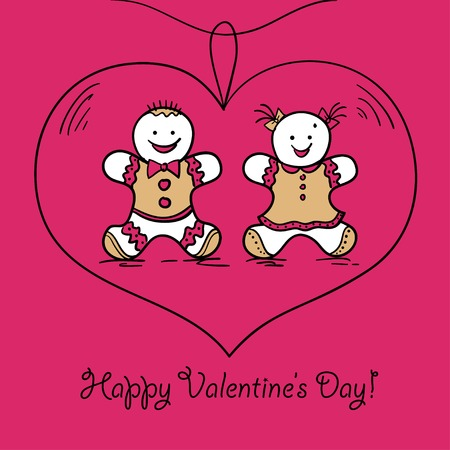 Card Happy Valentines Day. Vector illustration. Vector