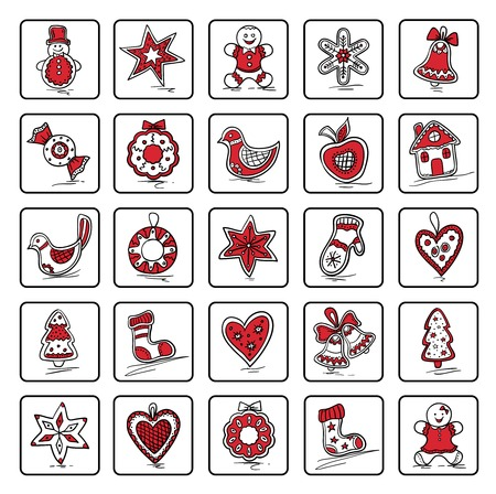 haert: Set of Christmas icons of dingerbreads. Vector illustration for your website or packaging design and fabric
