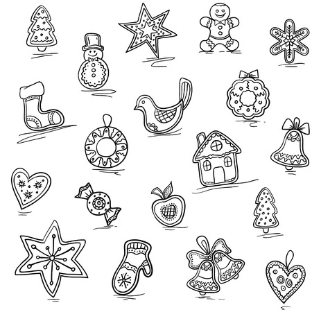 house sketch: Christmas pattern of Gingerbreads. Vector illustration for your website or packaging design and fabric