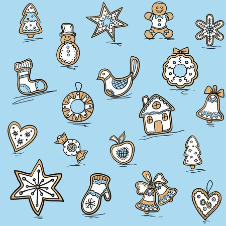 haert: Christmas pattern of Gingerbreads. Vector illustration for your website or packaging design and fabric