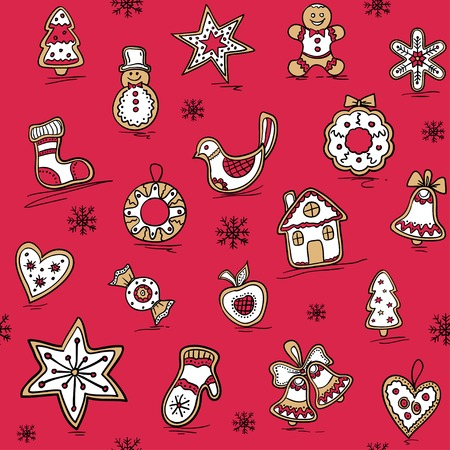 Christmas pattern of Gingerbreads. Vector illustration for your website or packaging design and fabric Vector