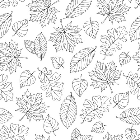 Seamless pattern with colorful fall leaves on a natural background Illustration