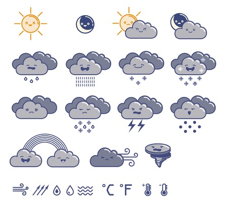 Set of weather icons. Vector illustration. Vector