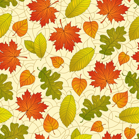 Seamless pattern with colorful fall leaves on a natural background Vector