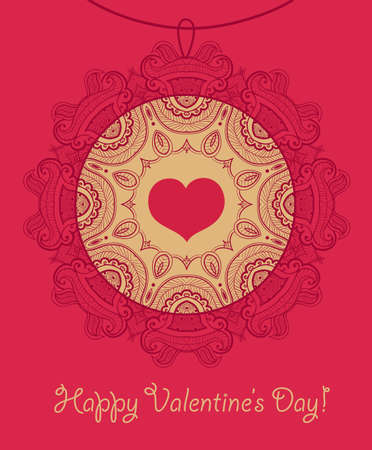 Card with openwork necklace. Happy Valentines Day. You can use it  for design of greeting card. Vector
