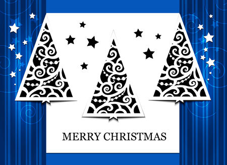 firtrees: Card with three fir-trees on the blue background
