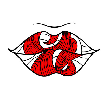 Banner with lips on white background . You can use it like greeting card for Valentines Day. Vector