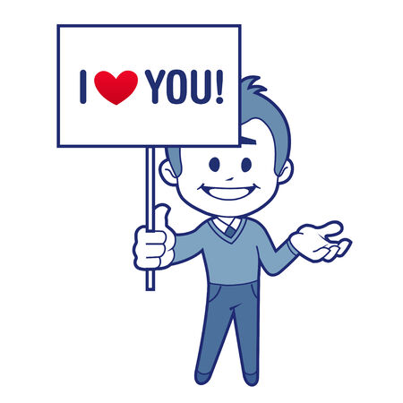 Smiling character with billboard for Valentines day Vector
