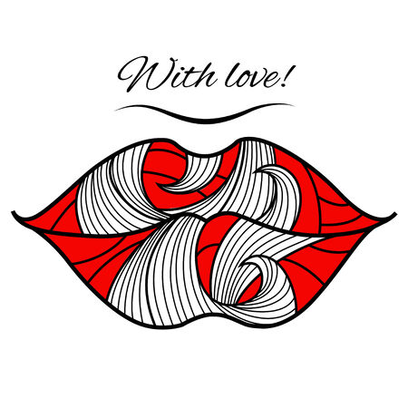Greeting card with lips  . You can use it like banner for Valentines Day. Vector