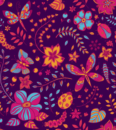 Seamless texture with flowers, beetles, butterflies and dragonflies  Seamless pattern can be used for wallpaper, pattern fills, web page background, design of textile Vector