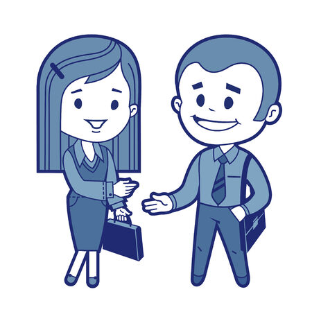 Meeting of businessman and business woman  Vector illustration Illustration