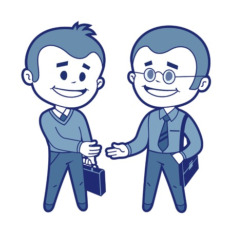 acquaintance: Meeting of two businessmen  Vector illustration