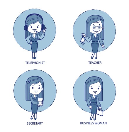 Four professions for women  Telephonist, teacher,secretary, business woman