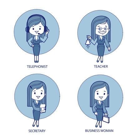 Four professions for women Telephonist, teacher,secretary, business woman