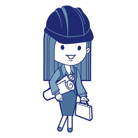 Architect with blueprints and briefcase  Vector illustration Vector
