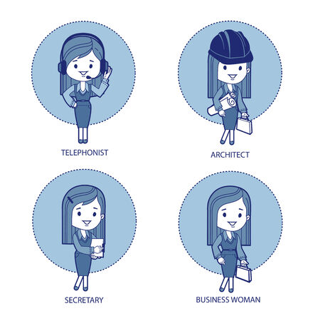 Four professions for women  Telephonist, architect, secretary, business woman