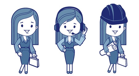 Three characters business women  Vector illustration