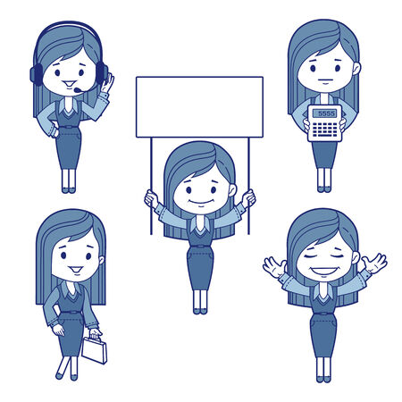 telephonist: Five character business women  Vector illustration
