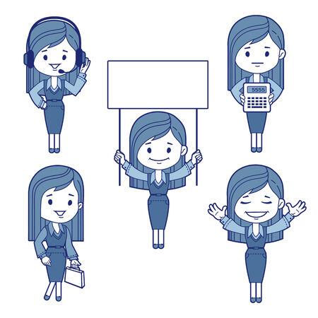 Five character business women Vector illustration