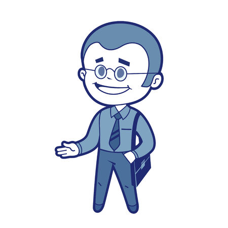 acquaintance: Character manager with business bag  Vector illustration Illustration