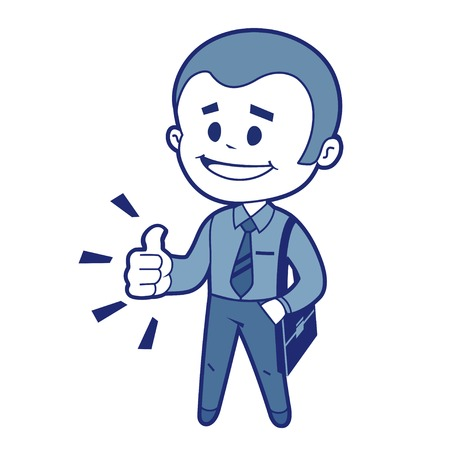 Character manager with business bag says ok   Vector illustration