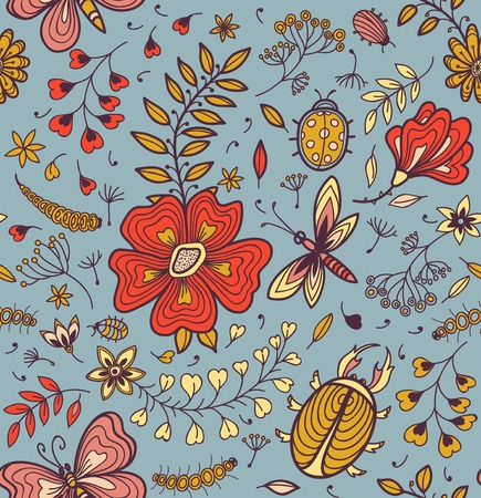 Seamless texture with flowers, beetles, butterflies and dragonflies. Vector