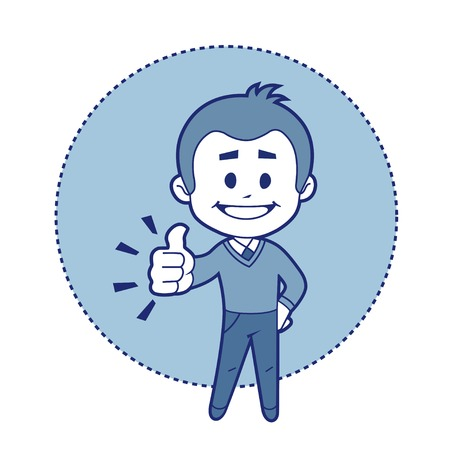 Character boy says ok! Vector illustration Vector