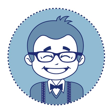 showman: Fashionable and happy showman or stage director in glasses. Illustration