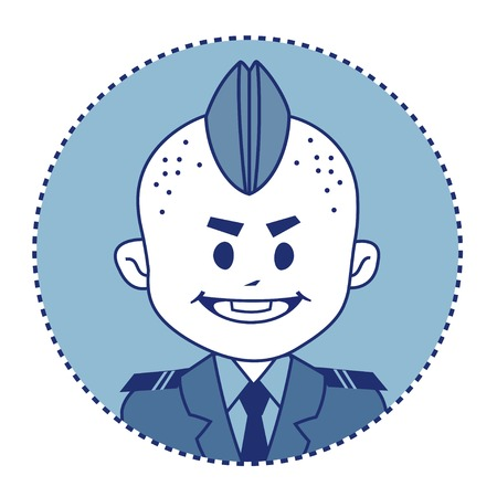 cadet blue: Character brave, strong soldier in forage-cap. Vector illustration