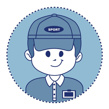 career coach: Man in a baseball cap with badge. It is service staff