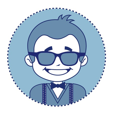 suspenders: Fashionable and happy showman in sunglasses. Vector illustration