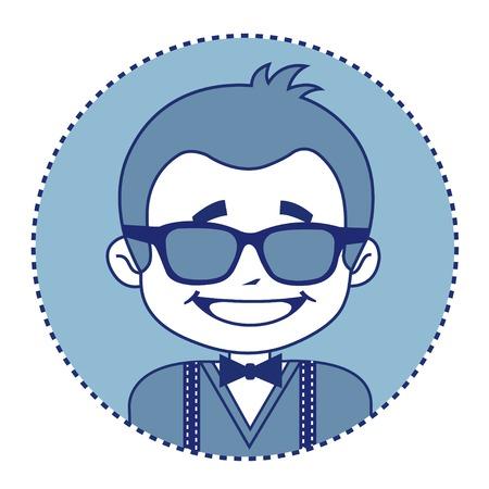 showman: Showman de moda y feliz en gafas de sol. Ilustraci�n vectorial Vectores