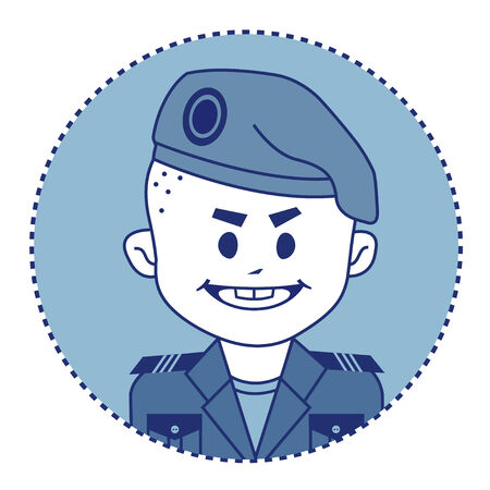 military beret: Character brave, strong soldier in beret. Vector illustration Illustration