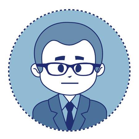 employe: Character financier in suit with tie. Vector illustration